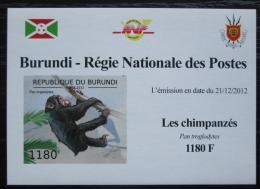 Poštovní známka Burundi 2012 Šimpanzi neperf. DELUXE Mi# 2853 B Block