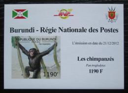 Poštovní známka Burundi 2012 Šimpanzi neperf. DELUXE Mi# 2854 B Block