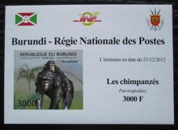 Poštovní známka Burundi 2012 Šimpanzi neperf. DELUXE Mi# 2855 B Block