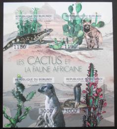 Poštovní známky Burundi 2012 Kaktusy a fauna neperf. Mi# 2748-51 B