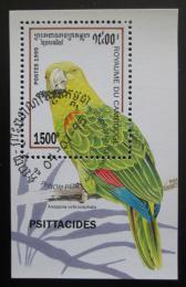 Poštovní známka Kambodža 1995 Amazoòan žlutohlavý Mi# Block 213