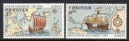 Poštovní známky Faerské ostrovy 1992 Evropa CEPT, objevení Ameriky Mi# 231-32