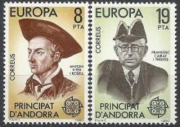 Poštovní známky Andorra Šp. 1980 Evropa CEPT, osobnosti Mi# 131-32