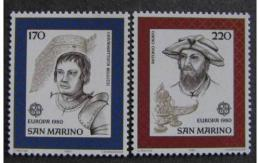 Poštovní známky San Marino 1980 Evropa CEPT, osobnosti Mi# 1212-13