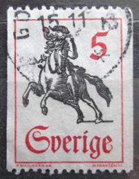 Poštovní známka Švédsko 1967 Poštovní doruèovatel na koni Mi# 590 C