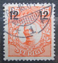 Poštovní známka Švédsko 1918 Král Gustav V. pøetisk Mi# 110