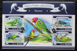 Poštovní známky Maledivy 2015 Papoušci Mi# 5599-5602 Kat 10€