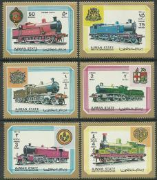 Poštovní známky Adžmán 1972 Lokomotivy Mi# 1850-55
