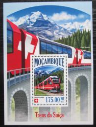 Poštovní známka Mosambik 2013 Švýcarské lokomotivy Mi# N/N Kat 10€