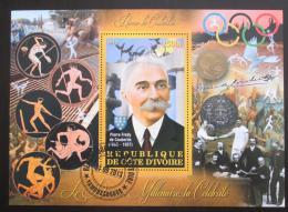 Poštovní známka Pobøeží Slonoviny 2012 Pierre de Coubertin, MOV Mi# N/N  - zvìtšit obrázek