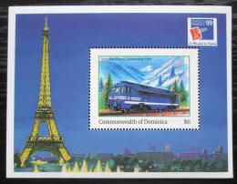 Poštovní známka Dominika 1999 Dieselová lokomotiva Mi# Block 386