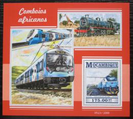 Poštovní známka Mosambik 2015 Africké lokomotivy Mi# Block 1050 Kat 10€