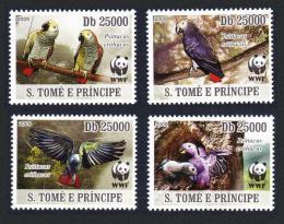 Poštovní známky Svatý Tomáš 2009 Papoušek šedý, WWF Mi# 3777-80 Kat 12€