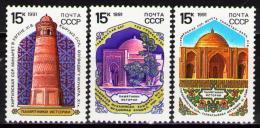 Poštovní známky SSSR 1991 Architektura Støední Asie Mi# 6174-76