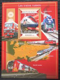 Poštovní známka Guinea 2015 Ruské lokomotivy Mi# Block 2498 Kat 16€
