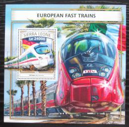 Poštovní známka Sierra Leone 2016 Moderní evropské lokomotivy Mi# Bl 1106 Kat 11€