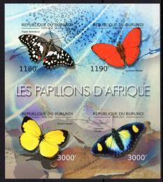Poštovní známky Burundi 2012 Motýli neperf. Mi# 2762-65 B Bogen