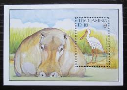 Poštovní známka Gambie 1991 Kolpík africký a hroch Mi# Block 109 Kat 8€