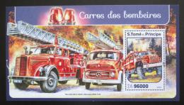 Poštovní známka Svatý Tomáš 2016 Hasièská auta Mi# Block 1228 Kat 10€