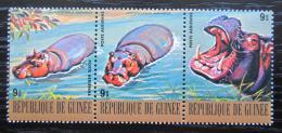 Poštovní známky Guinea 1977 Hroch obojživelný Mi# 817-19 Kat 6.30€