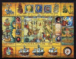 Poštovní známka Jugoslávie 1992 Evropa CEPT, objevení Ameriky Mi# Block 41 Kat 15€