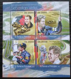 Poštovní známky Svatý Tomáš 2013 Formule 1, Sebastian Vettel Mi# 5051-54 Kat 10€