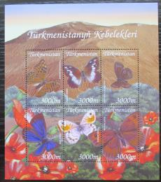 Poštovní známky Turkmenistán 2002 Motýli Mi# 154-59 Bogen Kat 9€