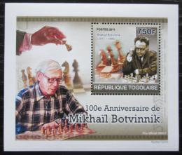 Poštovní známka Togo 2011 Michail Botvinnik, šachy DELUXE Mi# 3914 Block