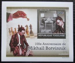 Poštovní známka Togo 2011 Michail Botvinnik, šachy DELUXE Mi# 3915 Block