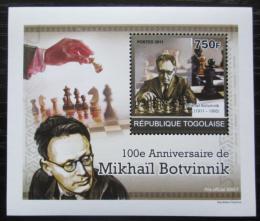 Poštovní známka Togo 2011 Michail Botvinnik, šachy DELUXE Mi# 3917 Block