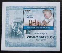 Poštovní známka Togo 2010 Vasilij Smyslov, šachy DELUXE Mi# 3534 Block