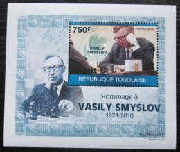 Poštovní známka Togo 2010 Vasilij Smyslov, šachy DELUXE Mi# 3535 Block