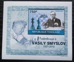 Poštovní známka Togo 2010 Vasilij Smyslov, šachy DELUXE Mi# 3537 Block