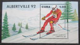 Poštovní známka Kuba 1990 ZOH Albertville, lyžování Mi# Block 119