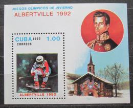 Poštovní známka Kuba 1992 ZOH Albertville, lyžování Mi# Block 126