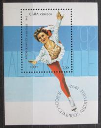 Poštovní známka Kuba 1991 ZOH Albertville, krasobruslení Mi# Block 125