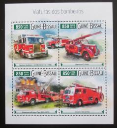 Poštovní známky Guinea-Bissau 2015 Hasièská auta Mi# 8110-13 Kat 14€
