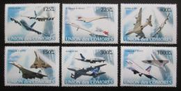 Poštovní známky Komory 2008 Letadla Airbus a Concorde Mi# 1925-30 Kat 11€