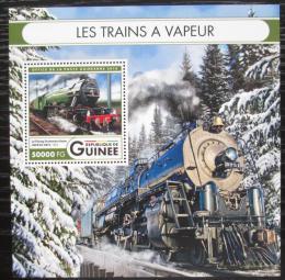 Poštovní známka Guinea 2016 Parní lokomotivy Mi# Block 2713 Kat 20€