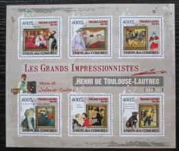 Poštovní známky Komory 2009 Umìní, Henri de Toulouse-Lautrec Mi# 2519-24 Kat 11€