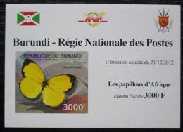Poštovní známka Burundi 2012 Motýli neperf. DELUXE Mi# 2764 B Block