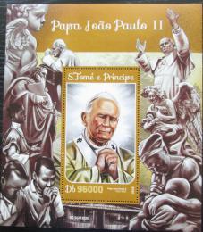 Poštovní známka Svatý Tomáš 2016 Papež Jan Pavel II. Mi# Block 1187 Kat 10€