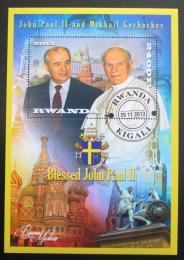Poštovní známka Rwanda 2013 Papež Jan Pavel II. a Michail Gorbaèov Mi# N/N