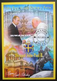 Poštovní známka Rwanda 2013 Papež Jan Pavel II. a Vladimír Putin Mi# N/N