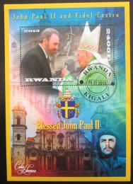 Poštovní známka Rwanda 2013 Papež Jan Pavel II. a Fidel Castro Mi# N/N