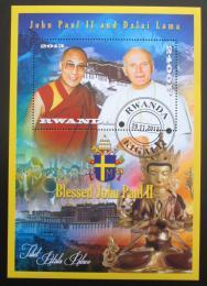 Poštovní známka Rwanda 2013 Papež Jan Pavel II. a Dalajláma Mi# N/N