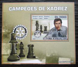 Poštovní známka Svatý Tomáš 2008 Bobby Fischer, šachy DELUXE Mi# 3558 Block