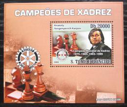 Poštovní známka Svatý Tomáš 2008 Anatolij Karpov, šachy DELUXE Mi# 3559 Block