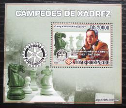 Poštovní známka Svatý Tomáš 2008 Garri Kasparov, šachy DELUXE Mi# 3560 Block