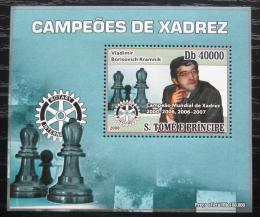 Poštovní známka Svatý Tomáš 2008 Vladimir Kramnik, šachy DELUXE Mi# 3561 Block